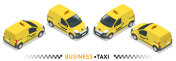 Isometric high quality city service transport icon set. Car taxi. Small Van Car.