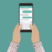 Hands and smartphone with messaging sms app