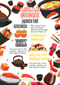 Japanese food, sushi roll and drink menu banner