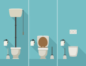 Toilets in flat style.
