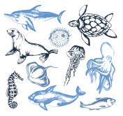 Sea Creatures - illustration of vector vintage composition