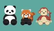 Panda Red Panda Monkey Doll Set Cartoon Vector Illustration