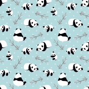 Panda bear vector background. Seamless pattern with cartoon panda.