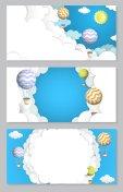 Hot air balloon vector paper cut horizontal banner set