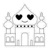 dotted shape taj mahal in love kawaii cartoon
