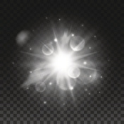 Sparkling bright star light with lens flare effect