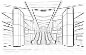 Hand drawn sketch Moscow metro station
