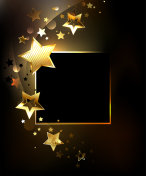 Square banner with gold stars