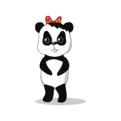Panda girl vector illustration, isolated hand-drawn cartoon character