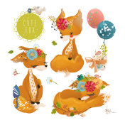 Cute fox, dreaming baby animal, princess set