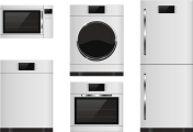Household appliances - refrigerator, oven, microwave, dishwasher, washing machine