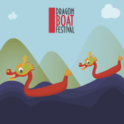 Duanwu racing festival promotion illustration: dragon boat surfing on waves made in a cartoon style.