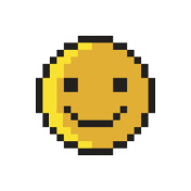 Smiley Pixel Art Style on White Background. Vector