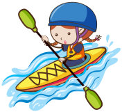 A Girl Kayaking in River