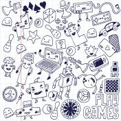 Games doodle set. School notebook.