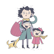 Illustration of a mother with children in color