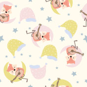 Cartoon pattern with fox,hat,moon and star