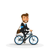 Smiling Business Man riding an Electric Bicycle