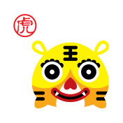 cute chinese tiger pattern vector
