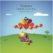 Thanksgiving Day celebration with turkey bird family.