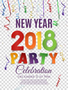 New Year 2018 party poster abstract design.