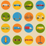 Flat style collection of transport icons