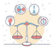 Balance with business and money symbols