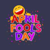 April Fools Day design with text and laughing smiley