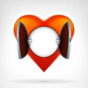 open heart access concept as blank template for text design