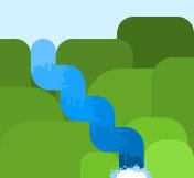 Mountain river in rocks. Fast clean fresh water flow. Mountain landscape. Vector illustration