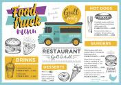 Food truck party invitation. Food menu template design.