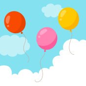 Flying balloons on blue sky background