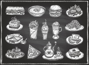 Chalk graphic illustration of assorted food