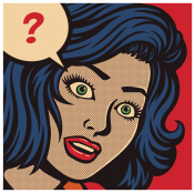 Pop art comic book panel with confused woman and speech bubble with question mark vector illustration