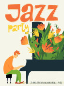 Jazz festival vector poster with piano musician