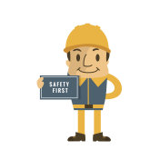 Construction worker holding safety first sign, safety first, health and safety, vector illustrator