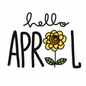 Hello April word and sunflower cartoon doodle vector illustration