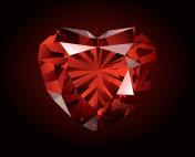 shiny red garnet on dark background