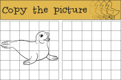 Educational game: Copy the picture. Little cute fur seal.