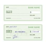 Template Blank Bank Check. Vector