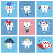 Set of funny icons of teeth