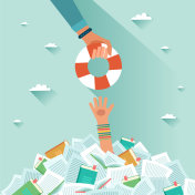 Overwhelmed student and pile of books. Drowning student getting rescue ring. Too much study. Student's hand drowning in books. Exams concept. Vector flat colorful illustration