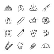 Simple collection of food related line icons.