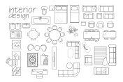 interior design floor plan symbols. top view furniture. cad symbol. vector furniture collection. project.