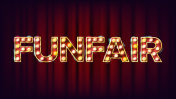 Funfair Banner Sign Vector. For Banner, Poster Design. Circus Lamp Background. Vintage Illustration