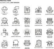 Protection, square icon set