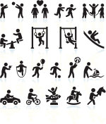 Stick Figure Day Care Black & White vector icon set