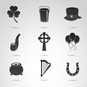Symbols of Ireland - irish icon set.