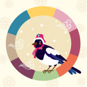 Happy new year day.the magpie wearing a traditional Korean hat