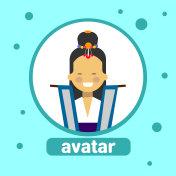 Asian Woman Avatar Icon Korean Female In Traditional Costume Profile Portrait